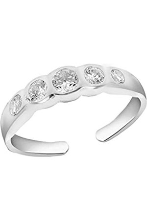 Tuscany Silver Women's Sterling Five Cubic Zirconia Adjustable Open Toe Ring