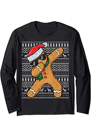Gingerbread Christmas Xmas Gifts By GingeryApparel Dabbing Gingerbread Man Cookie Christmas Gingerbread Ugly Long Sleeve T-Shirt