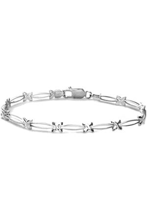 Citerna Women's Sterling Kiss Oval Link Bracelet of Length 18.4 cm