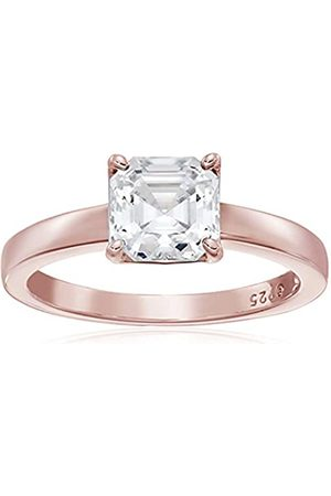 La Lumiere Rose Gold-Plated Sterling Silver Swarovski Zirconia Asscher-Cut Solitaire Ring (2 cttw)