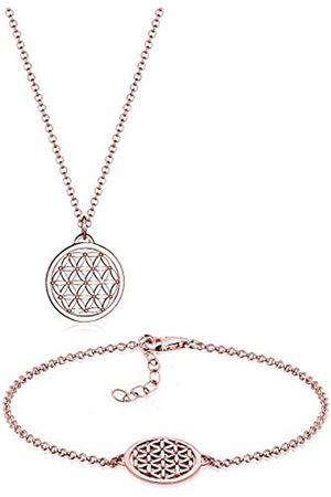 Elli Women's 925 Plated Life Flower Bracelet and Necklace Jewellery Set - 45cm length