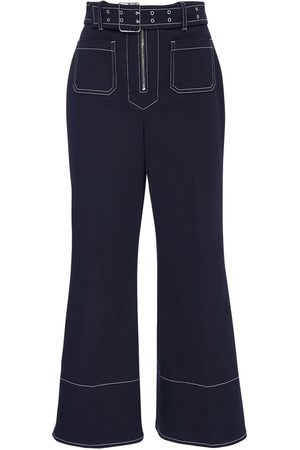 Miu Miu Crop Cotton Drill Wide Leg Pants W/ Belt