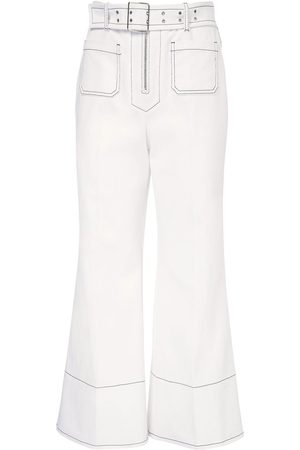 Miu Miu Women Wide Leg Trousers - Crop Cotton Drill Wide Leg Pants W/ Belt