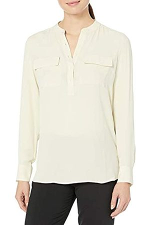 Lark & Ro Long Sleeve Sheer Utility Woven Tunic Top With Band Collar Shirt