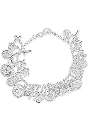 """Tuscany Silver Sterling Faith Charm Belcher Bracelet of 19cm/7.5"""""""