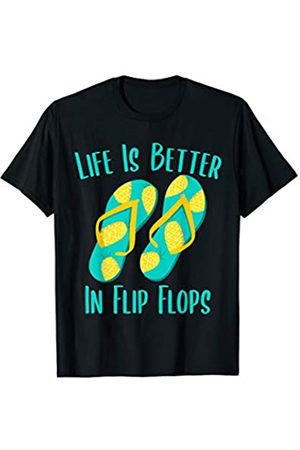 Life Is Better In Flip Flops Gifts Life Is Better In Flip Flops Pineapple Beach Vacation Gift T-Shirt