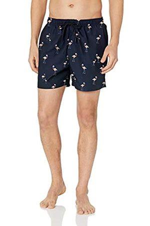 "28 Palms 4.5"" Inseam Tropical Hawaiian Print Swim Trunk Navy/ Flamingo"