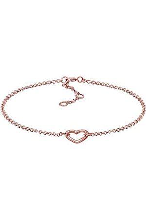 Elli Women 925 Sterling Plated Heart Bracelet of 17cm 0212760715