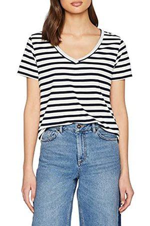JDY Women's CLOUD S/S Stripe V-Neck TOP JRS NOOS T-Shirt