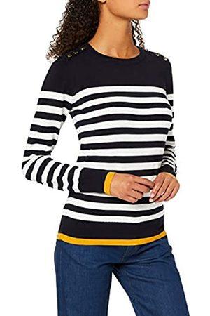 warehouse Women's Breton Stripe Button Shoulder Jumper