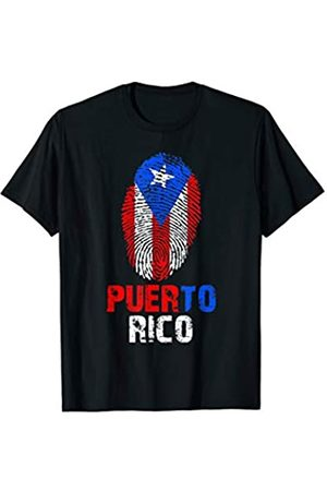 Vishtea PUERTO RICO Finger Print Flag Tshirt I Love Travel Tee T-Shirt