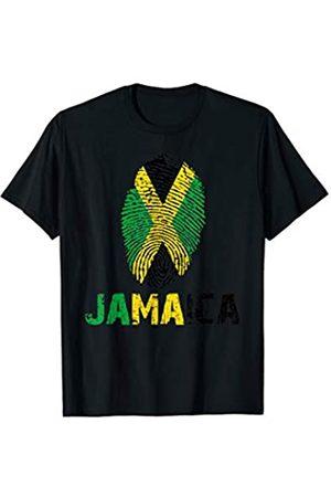 Vishtea JAMAICA Finger Print Flag Tshirt I Love JAMAICA Travel Tee T-Shirt