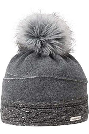 Giesswein Women Beanie Königsberg ONE - Winter Cap Made of 100% Lambswool, Warm Fleece Lining, Fake Fur Bobble, Glittering Rhinestones and Glittering Yarn