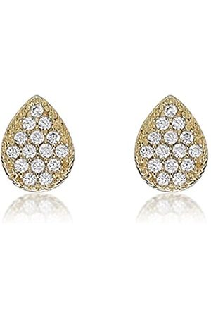 Carissima Gold Women's 9 ct Yellow Cubic Zirconia 6 x 8 mm Pear Shaped Stud Earrings