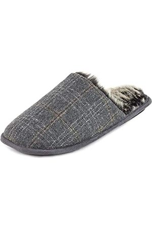 Totes Men's Fur Lined Open Back Slippers, ( Check Gyc)