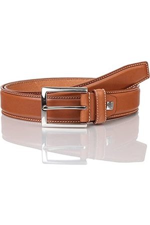 Lindenmann Mens leather belt/Mens belt, full grain leather belt curved, natural, Größe/Size:95