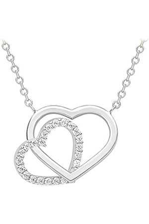 Carissima Gold Women's 9 ct (375) Plain and Cubic Zirconia Heart Necklace of 43 cm/17 Inch-46 cm/18 Inch