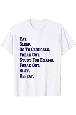 Nurse T-Shirt Gift Co NYC Funny Nurse Shirt Eat Sleep Clinicals Freak Out Slay Blue