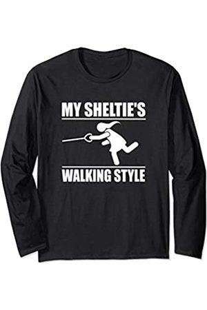ToonTyphoon Humorous Shetland Sheepdog Sheltie ( Women ) Walking Style Long Sleeve T-Shirt
