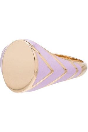 ALISON LOU 14kt yellow gold lilac stripe signet ring - 107 - Metallic: