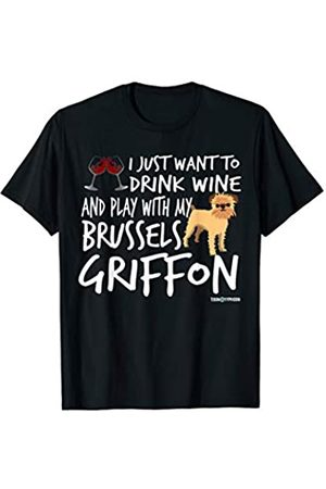 ToonTyphoon Amusing Brussels Griffon Drink Wine and Play T-Shirt