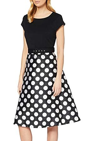 Dorothy Perkins Women's Luxe Mono Spot Solid Bodice Belted Midi Dress Casual