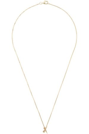 Daou 18kt yellow Kiss diamond pave pendant necklace