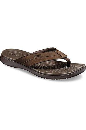 Crocs Men's Santa Cruz Leather Flip M Beach & Pool Shoes, (Espresso/Espresso 22z)