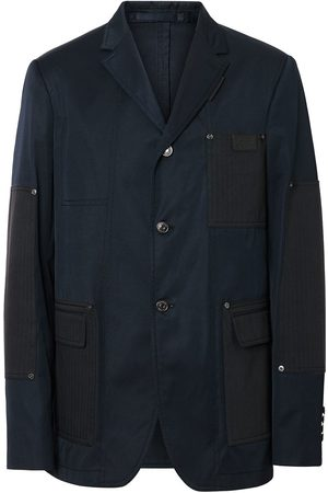 Burberry Herringbone Patch Detail Cotton Twill Blend Jacket