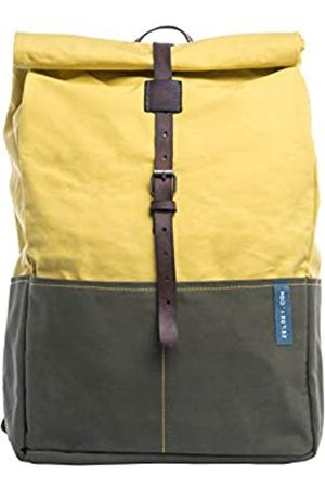 Zelo21 Roll-top Backpack ABBRACCIAMI in Canvas and Leather Green and Yellow.