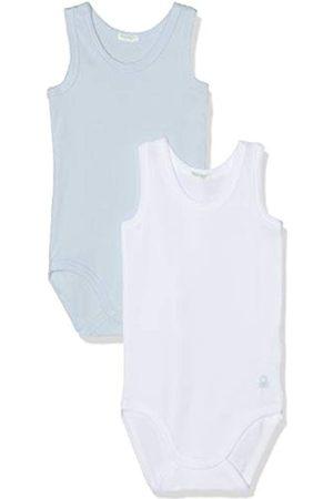 Benetton Baby Girls' 2 Bodysuit, (Bianco + Celeste 912)