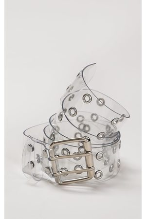 PRETTYLITTLETHING Clear PU Silver Multi Studded Waist Belt