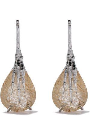 WOUTERS & HENDRIX 18kt quartz claw rutilated earrings