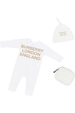 Burberry Cotton Jersey Romper & Hat