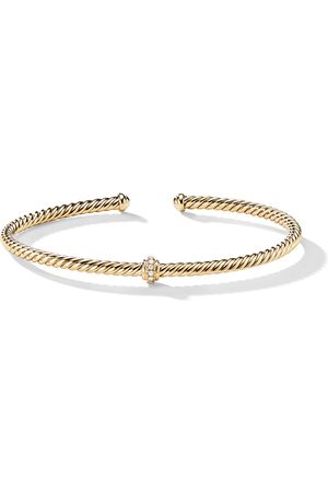 David Yurman 18kt yellow gold Renaissance Center Station diamond 3mm bracelet - 88ADI