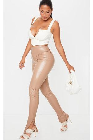 PRETTYLITTLETHING Shape Stone PU Split Hem Trousers