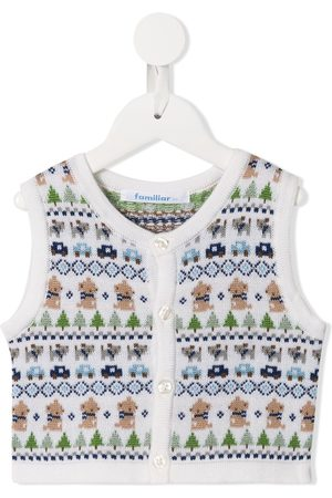 Familiar Sleeveless knitted patterned cardigan