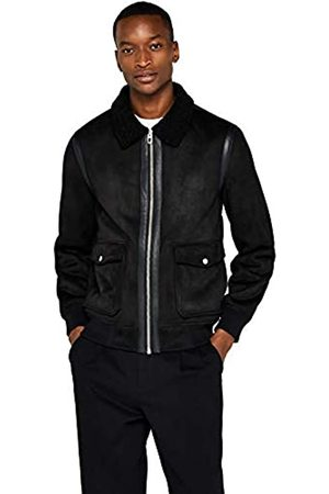 FIND Amazon Brand - Men's Leather Look Shearling Jacket, M