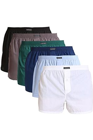 Lower East Men's American Boxer Shorts, Pack of 6, Multicoloured (Schwarz/weiß/blau/grün/hellblau/grau)