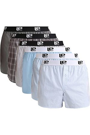 Lower East Men's American Boxer Shorts with elastic band, Pack of 6, Multicoloured (Hellblau/Grau)