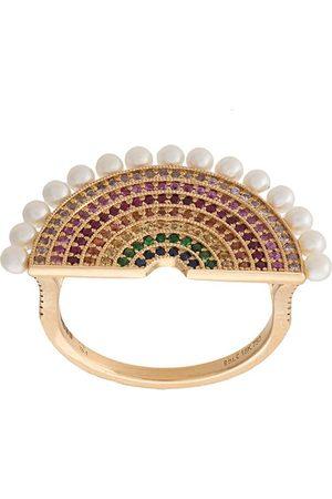 ROSA DE LA CRUZ Diamond and pearl encrusted cocktail ring