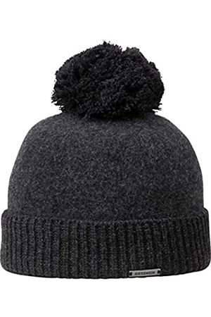 Giesswein Wool Beanie Sonneneck Anthracite ONE - Unisex Beanie 100% Lambswool, Lambswool Beanie, Warm Winter hat with Bobble Made of Wool, hat with Warm Fleece Lining