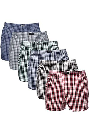 Lower East Men's American Boxer Shorts, Pack of 6 checkered