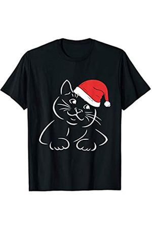Christmas Stocking Stuffers Christmas Cat Santa Hat Cute Kitten Drawing T-Shirt