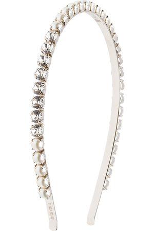 Miu Miu Pearl and crystal embellished headband - Metallic