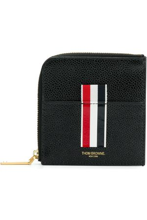 Thom Browne Vertical Intarsia Stripe Zip-around Wallet In Pebble Grain Leather