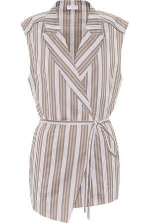 Brunello Cucinelli Striped cotton and silk wrap shirt