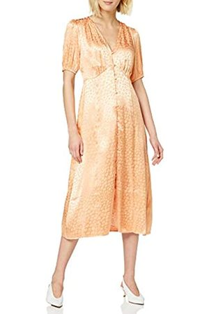 warehouse Women's Button Through Satin Jacquard Midi Dress Bridesmaid