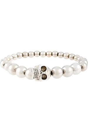 Alexander McQueen Men Bracelets - Beaded skull bracelet - Metallic