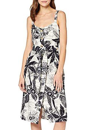 FIND Amazon Brand - Women's Midi Linen A-Line Dress, 14
